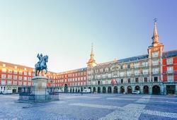 Morning Light at Plaza Mayor in Madrid , Spain