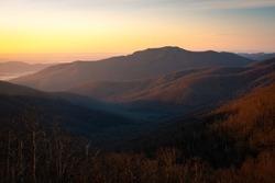 Morning light filling the valleys around Old Rag Mountain in Shenandoah National Park.