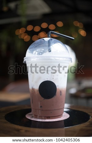 Morning light ice coffee cup in coffee shop #1042405306