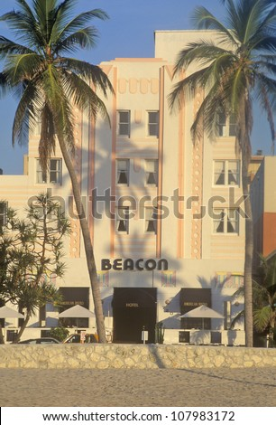 Morning light on an Art-Deco District south beach building, Miami, Florida
