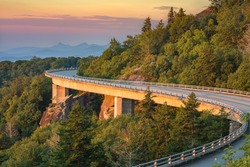 Morning light on the Lynn Cove Viaduct along the Blue Ridge Parkway in North Carolina