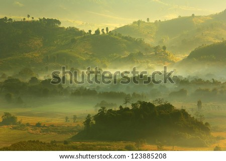 Morning mist at Phu Lang Ka, Phayao, Thailand