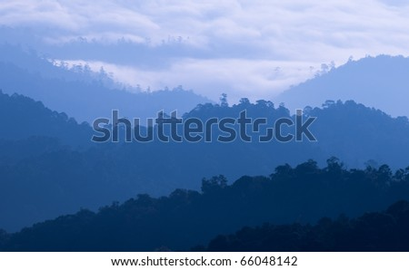 Morning Mist at Tropical Mountain Range, Thailand