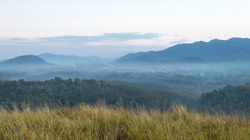 Morning Mist Bald mountain ,Grass Mountain,Grass Mountain is called Khao Hua Lon or Phu Khao Ya and Golden grass by the locals of Ranong Thailand , Asia ,landscae
