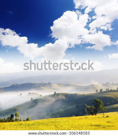 Morning mist cover tree and mountain in the sunshine - stock photo