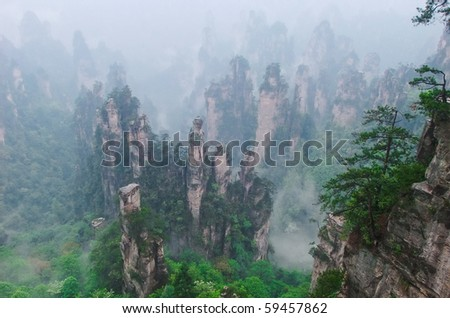 Morning mist hovering the forest of stone pillars at Zhangjiajie, Hunan China.
