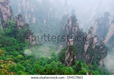 Morning mist hovering the forest of stone pillars at Zhangjiajie, Hunan China. - stock photo