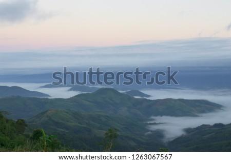 Morning mist,Mist and morning light before sunrise #1263067567
