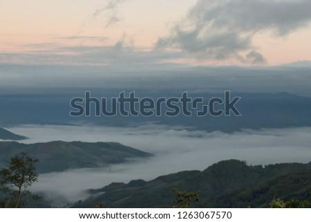Morning mist,Mist and morning light before sunrise #1263067570