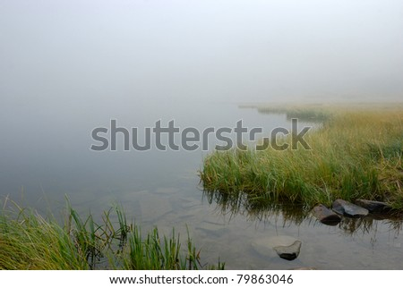 morning mist on a mountain lake