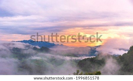 Morning mist Viewpoint Baan Jabo, the most favourite place for tourist in Mae Hong Son province Thailand. Baan Jabo one of the most amazing mist in Thailand. Stockfoto ©