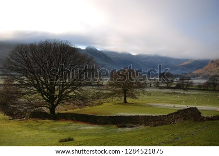 morning mists in Great Langdale with crinkle crags and the  langdale fells veiled in mist #1284521875