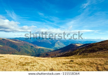 Morning misty autumn mountain landscape (Carpathian, Ukraine)