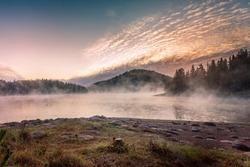 Morning misty fog at the lake, mountains pine tree forest landscape, Shiroka polyana reservoir dam, Bulgaria