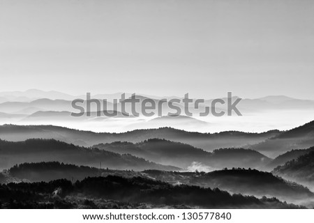 Morning mountain landscape black and white