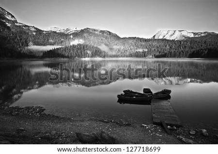 Morning Mountain Landscape Lake And Boats Black And White Stock