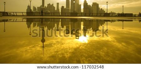 Morning of shanghai lujiazui view