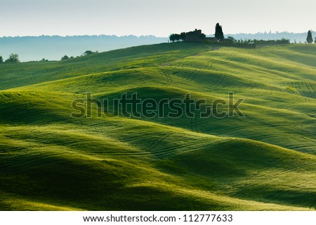 Morning on countryside, Tuscany, Italy - stock photo