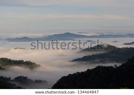 morning on hilltop view,Thailand
