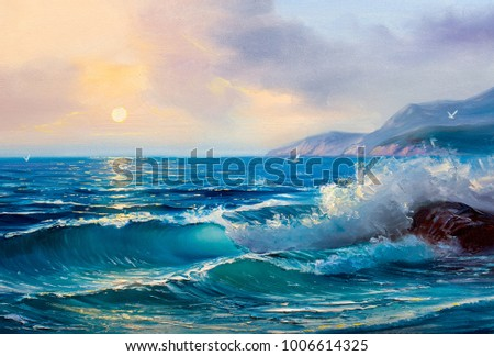 Morning on sea, wave, illustration, painting .