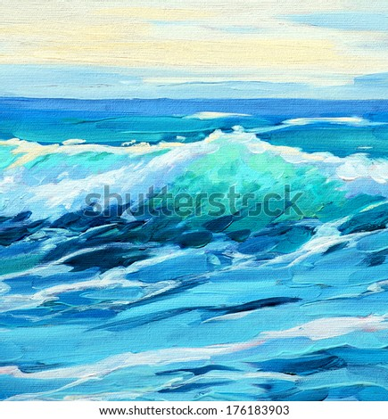 morning on sea wave illustration painting by oil on a canvas