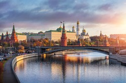 Morning over the Moscow Kremlin in the sun