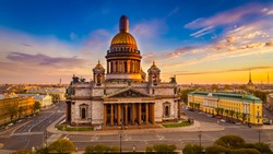 Morning panorama from the air in St. Petersburg. St. Isaac's Cathedral at dawn. Saint Petersburg. Russia.