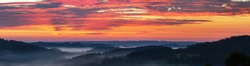 Morning panoramic sunset view of beautiful sky  from Bohemian and Moravian highland near Krasne village