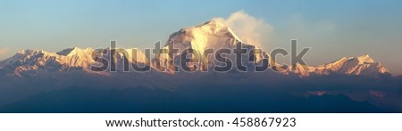 Morning panoramic view of Mount Dhaulagiri from Poon Hill view point, Nepal #458867923