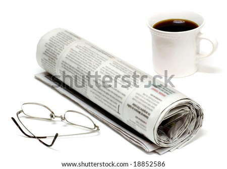 Morning paper with glasses and coffee
