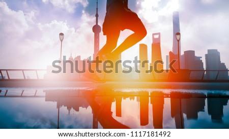 morning run at the bund huangpu riverside, Shanghai China #1117181492
