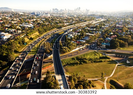 Morning rush hour from above in Brisbane coming from Gold Coast