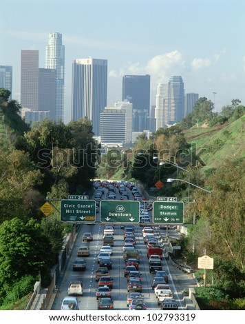 Morning rush hour traffic on Pasadena Freeway into downtown Los Angeles, California