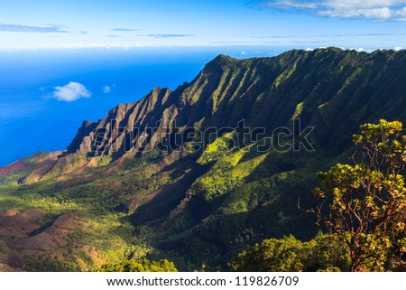 Morning scene at the Napali Coast in Kauai, Hawaii Islands.