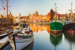 Morning scenery with boats of Gdansk old town in Poland