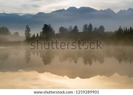 Morning seen at Matheson lake Aoraki Mount Cook National Park New Zealand South Island #1259289901