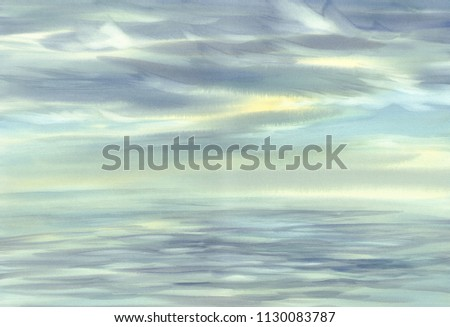 Morning sky cloud reflections on water watercolor landscape. Summer vacations