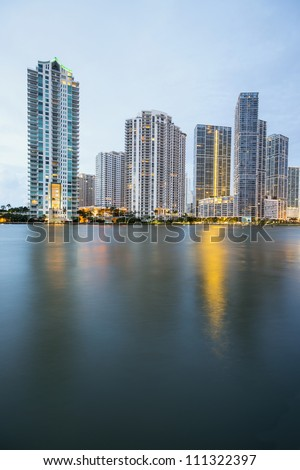 morning skyline, miami along biscayne bay and miami river