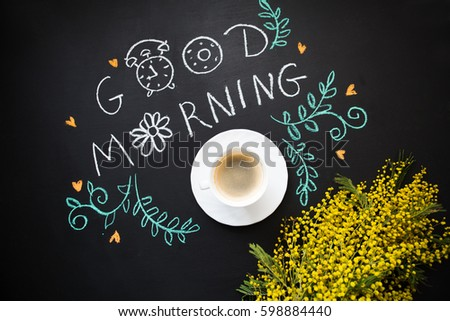 morning spring still life with a cup of coffee a mimosa. Good morning.