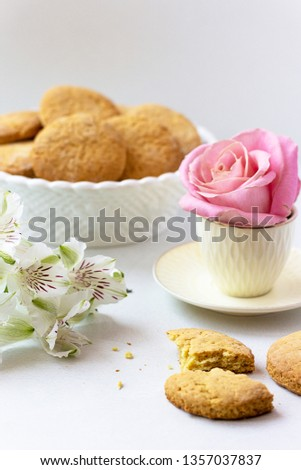 morning still life with pink rose, white flowers and cookies on a light background, breakfast, surprise, valentine's day, cookies, dessert, still life gallery, still life mood,  spring cafe,  lilies