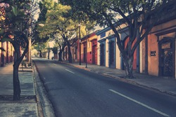 Morning streets in the one of the five most important Spanish colonial cities in the country - Puebla de Zaragoza, Mexico. Its history and architectural styles are very famous