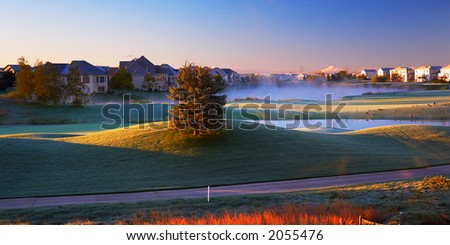 Morning sun on golf course. More with keyword group1a