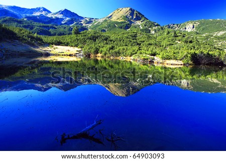 morning sunlight and peak reflection on the lake