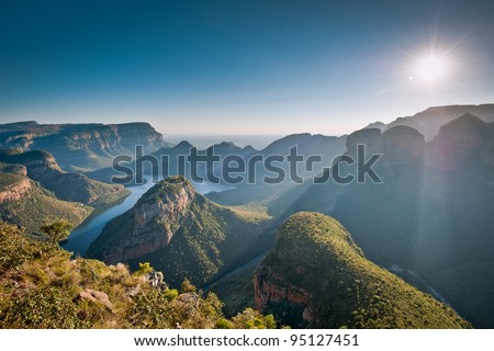 Morning sunlights baths the Blyde River Canyon in Mpumulanga, South Africa