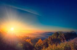 Morning sunrise evening sunset amazing light from god heaven in paradise supernova