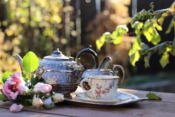 Morning tea in the autumn garden. Tea in antique porcelain cup, vintage set for tea on the tray, fresh last roses on aged table, sunny day, natural light