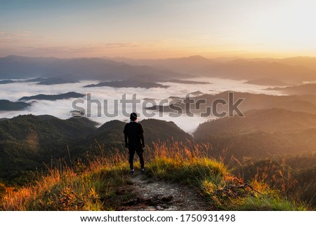 morning time view of Monk Lui Luang, Doi Thule, Tak province, Thailand, 1350 msl Foto stock ©