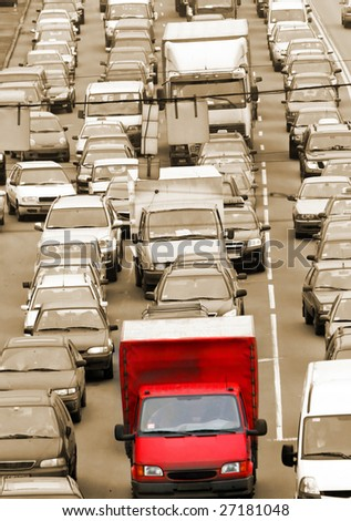 Morning traffic jam on a road in Kiev