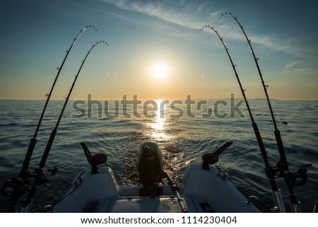 Morning trolling fishing on the lake ストックフォト ©