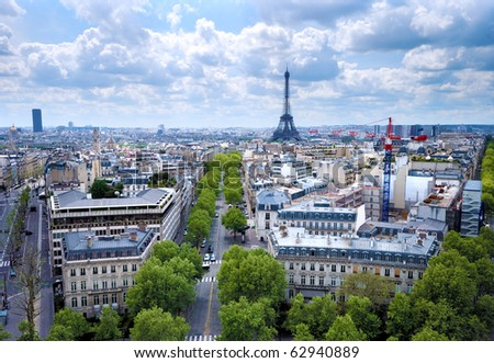 Morning view from Arc de Triomphe at Paris